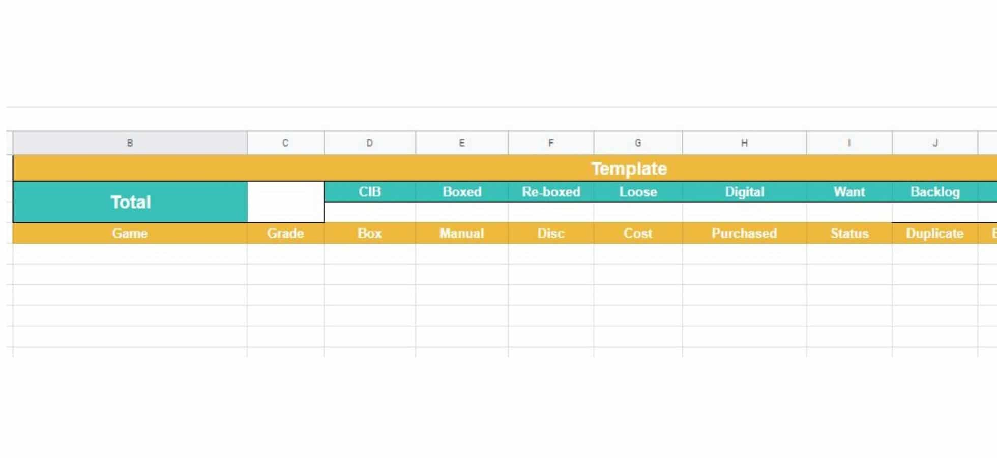Building Your Sheet - Template Tab Structure